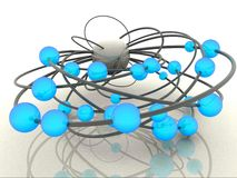 Abstract balls. 3d rendered illustration of a blue abstract balls and grey lines Stock Photography