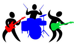 Abstract Band/eps. Colorful abstract illustration of a musical band with drummer and two guitarists Royalty Free Stock Images