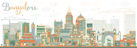 Abstract Bangalore Skyline with Color Buildings. Royalty Free Stock Photo