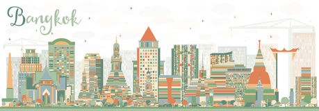 Abstract Bangkok Skyline with Color Landmarks. Vector Illustration. Business Travel and Tourism Concept with Bangkok City. Image for Presentation Banner Royalty Free Stock Photo