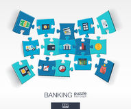 Abstract banking background with connected color puzzles, integrated flat icons. 3d infographic concept with money, card, bank Royalty Free Stock Images