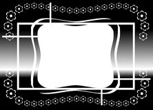 Abstract banner with flowers in black and white. Illustration representing an abstract decorated banner with abstract flowers Royalty Free Stock Photography