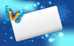 Abstract  banner with  butterfly and stars. Stock Photography