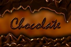 Abstract banner of chocolate with the inscription. Royalty Free Stock Images