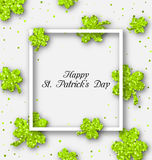 Abstract Banner with Clovers for Happy St. Patricks Day Royalty Free Stock Image