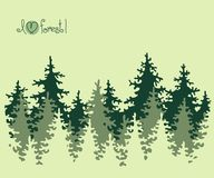 Abstract banner of coniferous forest. Royalty Free Stock Photo