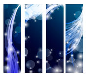 Abstract banner with curls of blue color Stock Photo