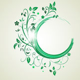 Abstract banner with curls of green color Stock Photo