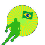 Abstract Banner FIFA World Cup 2014. Silhouette of a football player and a Brazilian flag. Abstract illustration Royalty Free Stock Photos