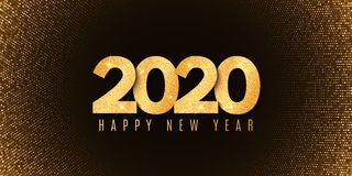 Abstract Banner For Happy New Year 2020. Fluid Design. Halftone Glowing Pattern. Gold Glitter Numbers. Festive Cover. Greeting Stock Images