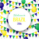 Abstract banner with inscription Welcome to Brazil. Background with balloons and with a garland from Brazil flag colors. Invitation to games in Rio de Janeiro Stock Photo