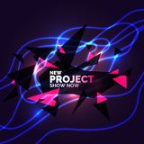Abstract banner with neon lines on a dark background. Vector illustration vector illustration