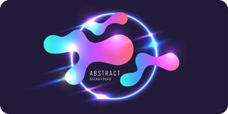 Abstract banner with neon lines on a dark background. Vector illustration Royalty Free Stock Photos