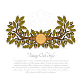 Abstract banner from oak branch leaves and acorn on white. Cartoon style background Stock Image