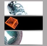 Abstract banner set embellished with 3D renders stock illustration