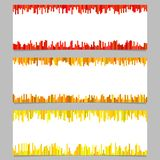 Abstract banner template design set - horizontal vector illustration from vertical stripes. On white background Royalty Free Stock Images