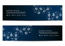 Abstract bannerontwerp, DNA-de achtergrond van de moleculestructuur Geometrische grafiek en verbonden lijnen met punten wetenscha Royalty-vrije Stock Foto's