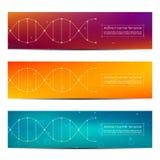 Abstract bannerontwerp, DNA-de achtergrond van de moleculestructuur, vectorillustratie Royalty-vrije Stock Afbeelding