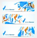 Abstract banners. With blue and orange particles. Vector illustration Stock Images