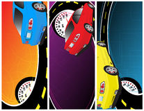 Abstract banners. Blue, red and yellow car on the abstract background Stock Photos