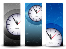 Abstract banners with clock Royalty Free Stock Photography