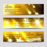 Abstract banners collection with golden flashes. Of light. Vector illustration Royalty Free Stock Photography