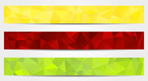 3 abstract banners collection. Set of 3 isolated abstract banners in triangular style Royalty Free Stock Photo
