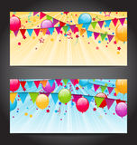 Abstract banners with colorful balloons, hanging flags and confe Royalty Free Stock Photos
