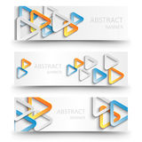 Abstract banners with colorful paper triangles. Abstract vector banners with colorful paper triangles royalty free illustration