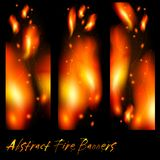 Abstract banners with flashes of flame Stock Photo