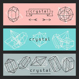 Abstract banners with geometric crystals and. Minerals stock illustration
