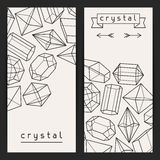 Abstract banners with geometric crystals and. Minerals vector illustration