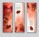 Abstract Banners With Hearts. Vector Eps10 Backgrounds. Royalty Free Stock Photo