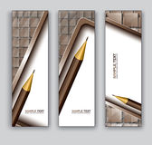 Abstract Banners With Pencil. Vector Eps10 Backgrounds. Royalty Free Stock Photography