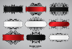 Abstract banners set. Abstract black, red and white banners set, this illustration may be useful as designer work Royalty Free Stock Images