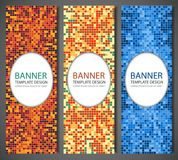 Abstract banners set with colorful pixel background. Party invetation design template. Vector Stock Photos