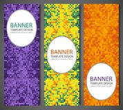 Abstract banners set with colorful pixel background. Party invetation design template. Vector. Illustration Royalty Free Stock Photos