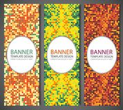 Abstract banners set with colorful pixel background. Party invetation design template. Vector. Illustration Royalty Free Stock Photo