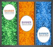 Abstract banners set with colorful pixel background. Party invetation design template. Vector Stock Image