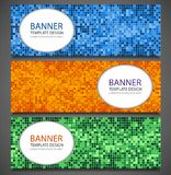 Abstract banners set with colorful pixel background. Party invetation design template. Vector Stock Photography