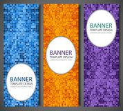 Abstract banners set with colorful pixel background. Party invetation design template. Vector Royalty Free Stock Photos