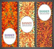 Abstract banners set with colorful pixel background. Party invetation design template. Vector Stock Images