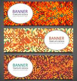 Abstract banners set with colorful pixel background. Party invetation design template. Vector. Illustration Royalty Free Stock Image