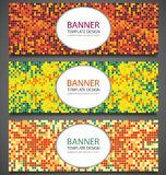 Abstract banners set with colorful pixel background. Party invetation design template. Vector Royalty Free Stock Photo