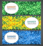 Abstract banners set with colorful pixel background. Party invetation design template. Vector. Illustration Stock Photos