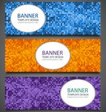 Abstract banners set with colorful pixel background. Party invitation design template. Vector. Illustration Royalty Free Stock Photo