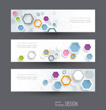 Abstract banners set with image of science innovation concept. Circuit board and hexagons or polygon background. Hi tech digital technology. Abstract Royalty Free Stock Photo