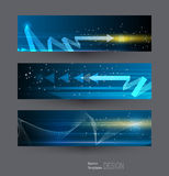 Abstract banners set with image of speed movement pattern. And motion blur over dark blue color. Science, futuristic, energy technology concept. Vector Stock Photography