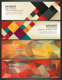 Abstract Banners set. Polygonal geometric and colorful squares. Background with different design elements. Vector.  Stock Photography