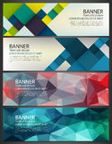 Abstract Banners set. Polygonal geometric and colorful squares. Background with different design elements. Vector.  Royalty Free Stock Image